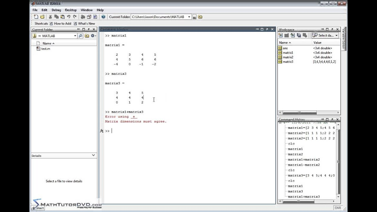 Matlab sect 37 adding and subtracting matrices and for Table 2 matrix matlab