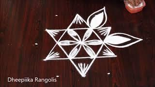 star rangoli design with 5x3 dots l simple kolam designs for beginners l small muggulu