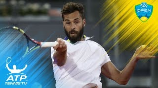 Benoit Paire tweener & sit-down winner vs Djokovic | Cincinnati 2015