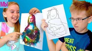 3 MARKER CHALLENGE Мальчики против девочек Челлендж 3 Маркера Мы Рисуем Видео для детей kids video