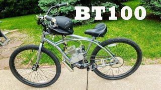 """BT100 bike engine on a 26"""" beach cruiser! Walk around review + speed test!"""