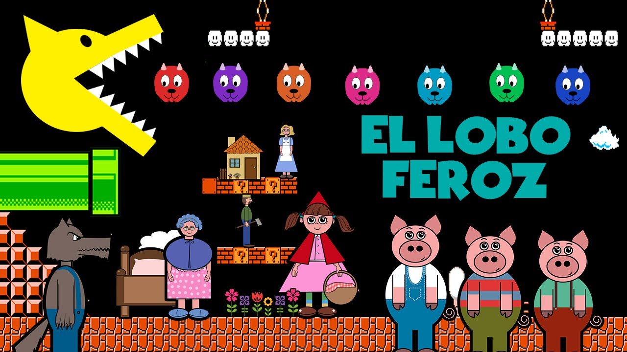 Cuentos Clasicos del Lobo Feroz. Tipo Video Juego 8-bit