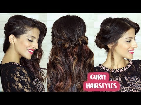 3 FESTIVE Hairstyles For Curly Hair   Easy Curly Hairstyles   Knot Me Pretty thumbnail