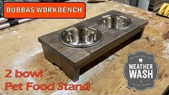 Pet Food Stand with 2 bowls - Weather Washed