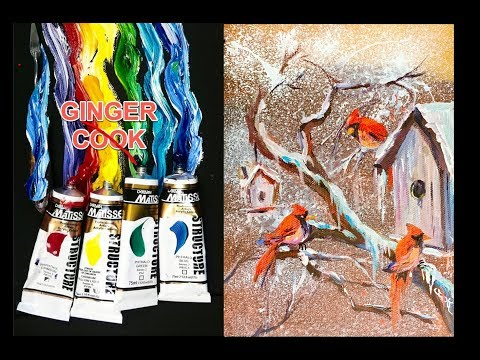 Cardinals and Birdhouses Acrylic Painting Tutorial for Beginner and Advanced Artists - Ginger Cook