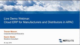 Live Demo Webinar: Cloud ERP for Manufacturers and Distributors- APAC