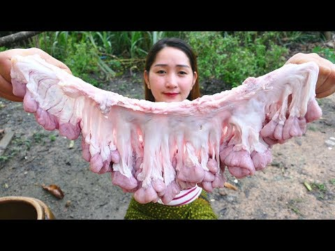 Yummy Pig Intestine Crunchy Cooking - Crunchy Pig Intestine Recipe - Cooking With Sros