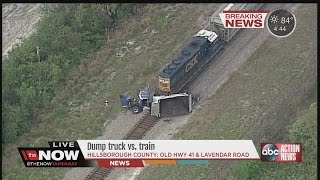 Train slams into dump truck on Old Highway 41 and Lavendar Road in Ruskin