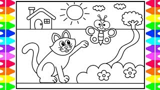 How to Draw a CAT Step by Step for Kids 🐱💜Cat Drawing Tutorial | Fun Coloring Pages for Kids