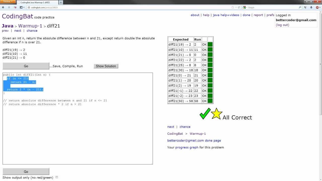 CodingBat - Java Warmup-1 Solution - diff21