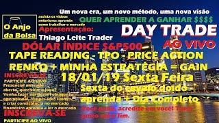 DAY TRADE AO VIVO DÓLAR E S&P500 18/01/19 TapeReading,TPO,Renko,Price Action DOLG19/WDOG19 Aprenda