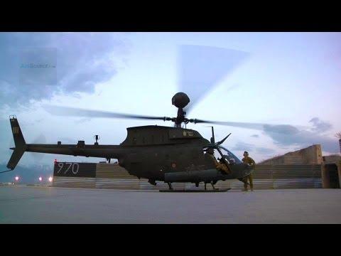 OH 58 Kiowa Warriors Pilot Doing Pre Checks Start Up And