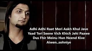 Adhi Adhi Raat - Bilal Saeed - Twelve - Lyrics Video Punjabi Song