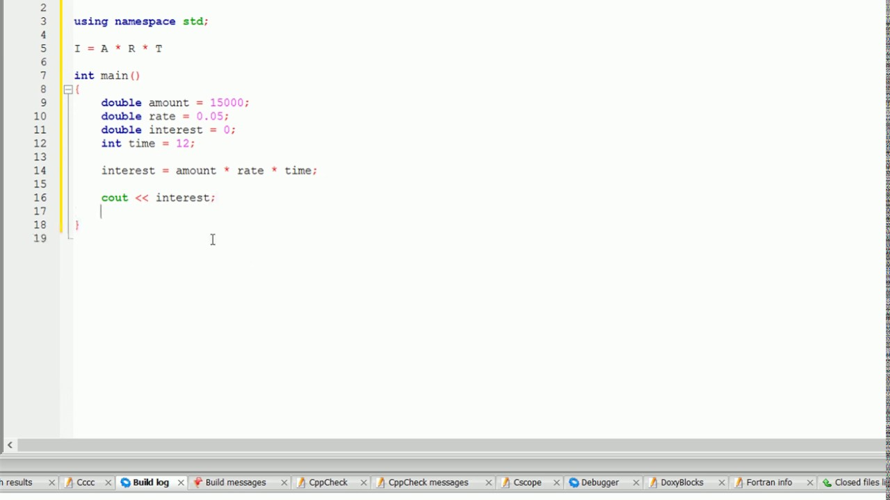 Write A Program To Calculate Simple Interest In C++