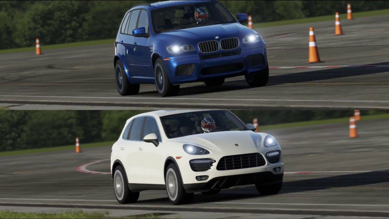 bmw x5 m vs porsche cayenne turbo top gear track youtube. Black Bedroom Furniture Sets. Home Design Ideas