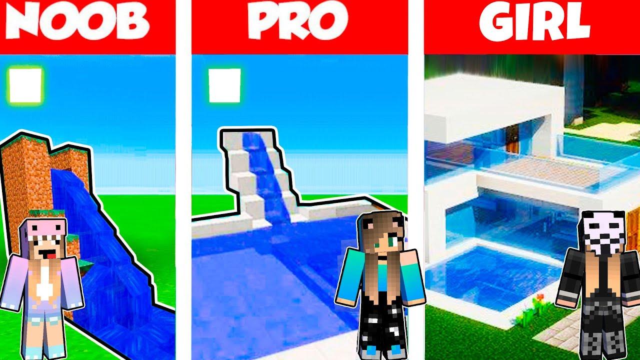 Minecraft Battle: BEACH BUILD CHALLENGE - NOOB vs PRO vs GIRL / Animation