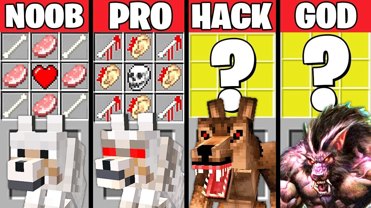 Minecraft Battle: MUTANT WEREWOLF CRAFTING CHALLENGE - NOOB vs PRO vs HACKER vs GOD ~ Animation