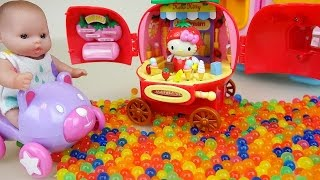 Baby doll and Hello kitty Orbeez fruit Strawberry IceCream car toys play