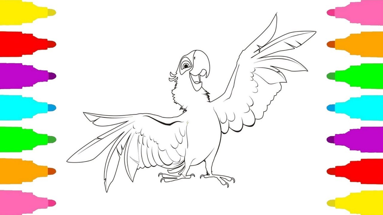 How To Draw Blu From Rio Rio 2 Coloring Pages with Colored