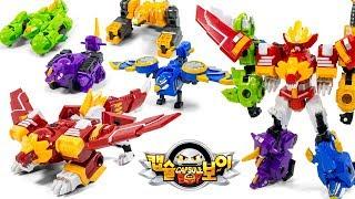CapsuleBoy2 King of Egg Star 5in1 Lion Eagle IceShark Rhinoceros Crocodile Beast Toy Transformation