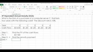 Calculating Equivalent Annual Annuity in Excel