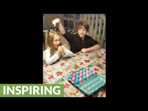 Kids play egg roulette for baby gender reveal