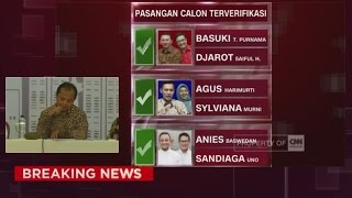 Breaking News: 3 Paslon Resmi Jadi Cagub-Cawagub DKI Jakarta