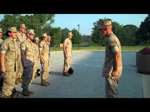 JimmyDShea marches Marines, LCpl Wulz does morning moto, Marine Corps drill