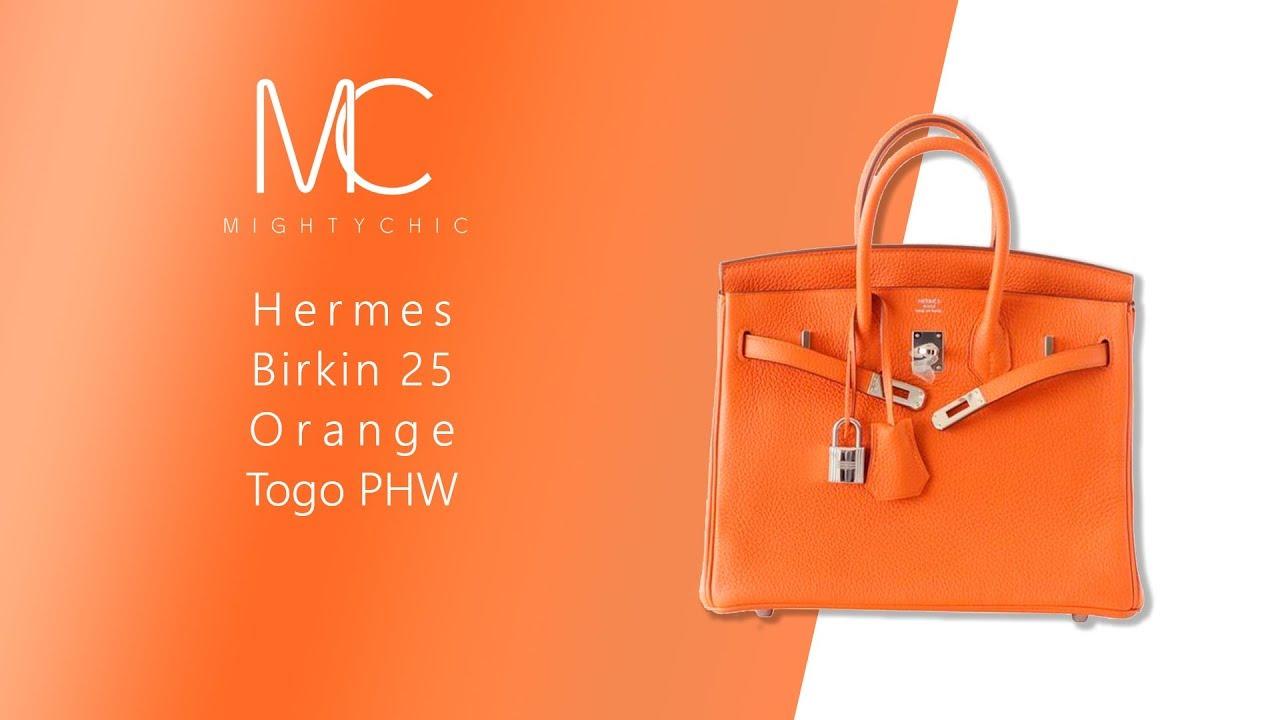 70705e22c7 MIGHTYCHIC • Hermes Birkin 25 Orange Togo PHW - YouTube