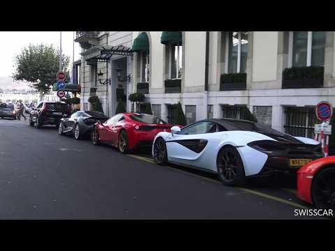 Supercar drivers rally in Geneva (Bugatti veyron grand sport wei long, 599gto, speciale, aventador)