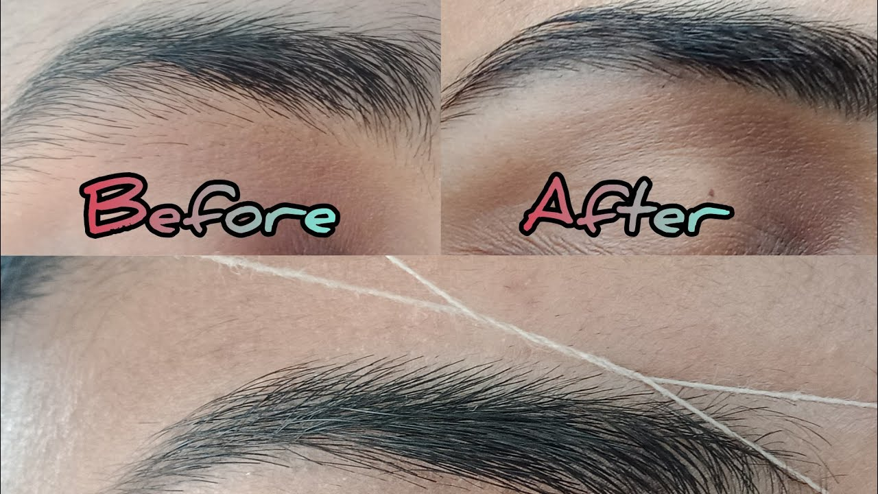 Eyebrow threading || AT HOME || How to groom your brows ...