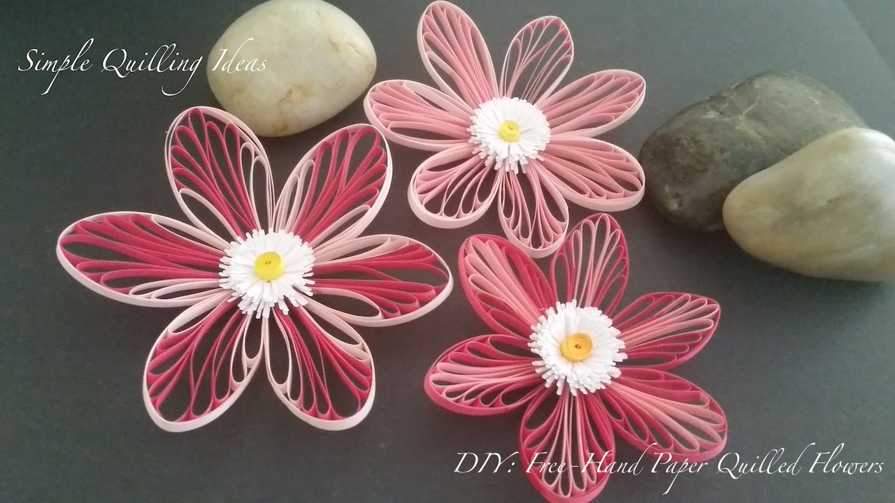 Art And Craft Diy Free Hand Quilled Flowers Youtube