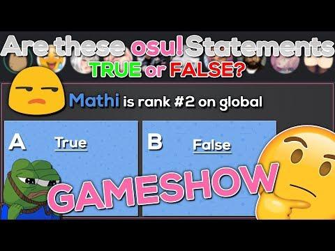 [Osu! Gameshow] osu! True or False? ft. Alish2001