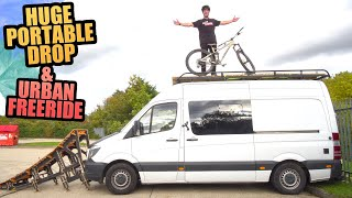 RIDING MY HUGE PORTABLE DROP AND URBAN MTB FREERIDE ON MY ENDURO BIKE!