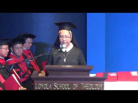 Class Valedictorian: Sr. Gladys Q. Manuel of the Daughters of Divine Zeal (FDZ), Summa cum laude.