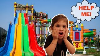 BABY SCARED OF GIANT SLIDE!
