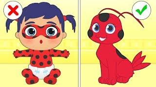 BABY PETS 💥 Kira and Max Dress up as Ladybug's Tikki and Plagg | Cartoons for Kids