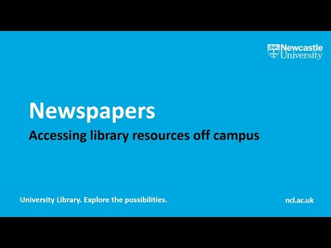 How do I access newspapers off campus? from YouTube · Duration:  3 minutes 15 seconds