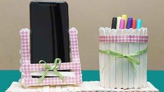 Amazing Idea Ice Cream Sticks - Homemade Pen Stand & Mobile Phone Holder With Ice Cream Sticks