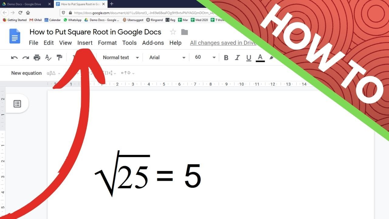 How to Put Square Root in Google Docs