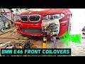 BMW E46 FRONT COILOVERS INSTALL COIL OVER INSTALL 318i 320i 323i 325i 328i 330i 320d 330ci 325ci
