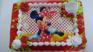 Aprendendo a fazer um lindo bolo da Minnie #1