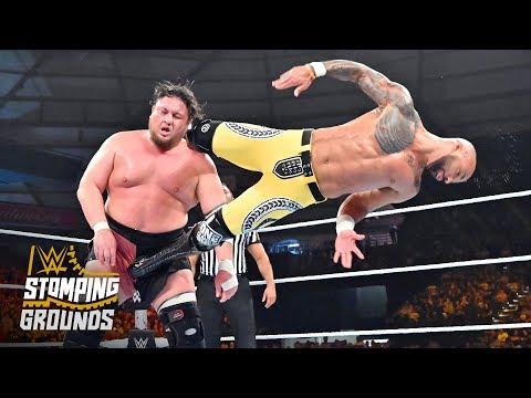 Ricochet staggers Samoa Joe with a step-up enzuigiri: WWE Stomping Grounds 2019 (WWE Network)