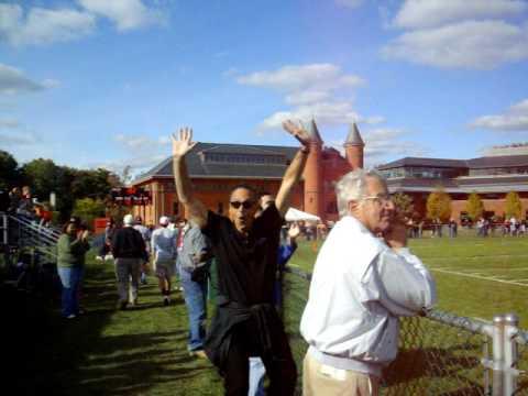 WesPep Cheering at the Wesleyan Football Game