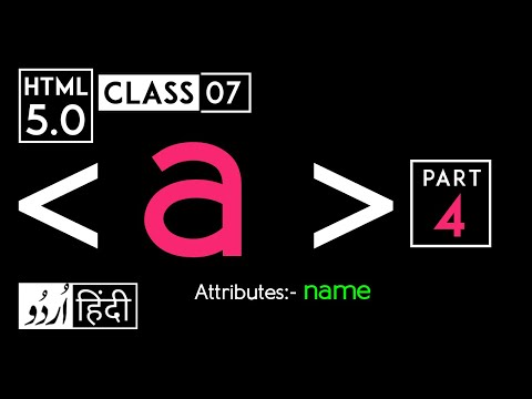Anchor Tag (a Tag) Part 4 - Html 5 Tutorial In Hindi - Urdu With Name Attribute - Class - 07