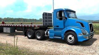 American Truck Simulator - Volvo VNL 300 + 2 Flatbed Trailers