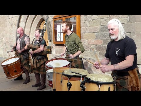 Scottish Tribal Band Clann An Drumma Performing City Centre Of Perth Perthshire Scotland