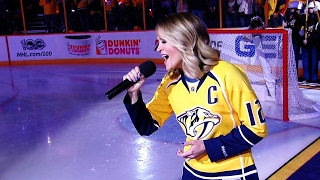 Carrie Underwood treated her husband, Predators captain Mike Fisher, and the rest of the Nashville faithful to a rousing rendition of Star Spangled Banner to get ...