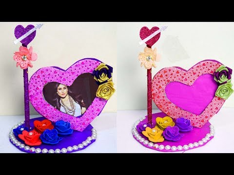How to make heart shaped Photo frame - Photo frame making with waste material - Handmade photo frame