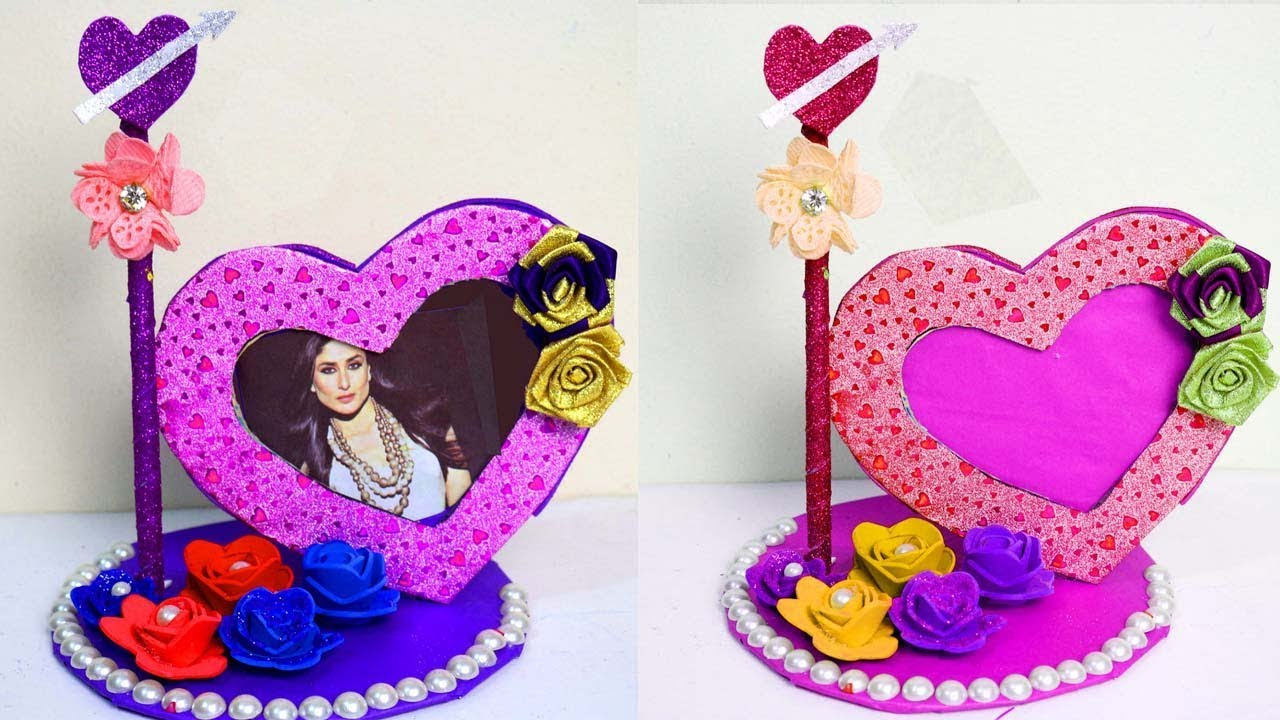 How To Make Heart Shaped Photo Frame Photo Frame Making With Waste